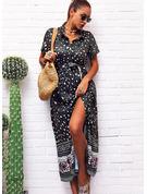 Leopard Druck A-Linien-Kleid Kurze Ärmel Maxi Boho Lässige Kleidung Urlaub Skater Modekleider