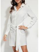 Einfarbig A-Linien-Kleid Lange Ärmel Mini Lässige Kleidung Hemdkleider Modekleider