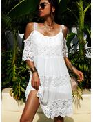レース 固体 シフトドレス コールドショルダースリーブ 半袖 ミニ リトルブラックドレス エレガント ファッションドレス