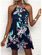 Blumen Druck Rückenfrei A-Linien-Kleid Ärmellos Mini Lässige Kleidung Urlaub Skater Modekleider