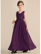 A-Line/Princess V-neck Floor-Length Chiffon Lace Junior Bridesmaid Dress With Beading