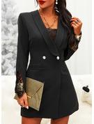 レース 固体 ボディコンドレス 長袖 ミニ リトルブラックドレス エレガント ファッションドレス
