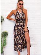 Print A-line Sleeveless Maxi Casual Skater Type Dresses