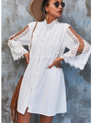 Lace Solid Shift 3/4 Sleeves Mini Elegant Dresses