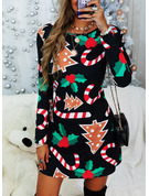 Print Shift Long Sleeves Midi Christmas Tunic Dresses