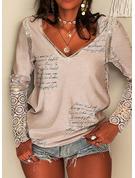 Figure Lace Print V-Neck Long Sleeves Elegant Blouses