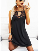 Encaje Sólido Cubierta Sin mangas Mini Pequeños Negros Casual Vestidos de moda