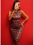 Print Bodycon Sleeveless Midi Elegant Dresses