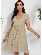 Solid Shift 1/2 Sleeves Midi Casual Tunic Dresses