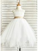 Çan/Prenses Yuvarlak Yaka Uzun Etekli Tül Küçük Nedime Elbisesi Ile Kuşaklar