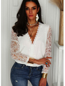 Beaded Lace Solid V-Neck Long Sleeves Elegant Blouses