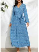 Imprimeu Bir Çizgi Mânecă Evazate Mâneci Lungi Maxi gündelik Tatil Patenci Moda Elbiseler