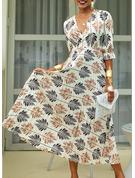Print A-linjeklänning 1/2 ärmar Maxi Fritids Semester skater Modeklänningar
