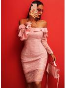 Pizzo Solido Aderente Maniche lunghe Midi Partito Elegante Matita Vestiti di moda