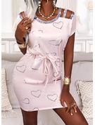 印刷 ハート ボディコンドレス 半袖 ミニ カジュアル ファッションドレス