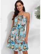Floral Impresión Vestido línea A Sin mangas Mini Casual Vacaciones Tipo Vestidos de moda