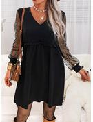 Einfarbig Etuikleider Lange Ärmel Midi Kleine Schwarze Lässige Kleidung Tunika Modekleider