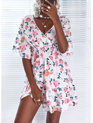 Floral Print A-line 1/2 Sleeves Mini Casual Skater Dresses