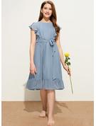 A-Line Scoop Neck Knee-Length Chiffon Junior Bridesmaid Dress With Bow(s) Cascading Ruffles