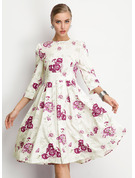 フローラル 印刷 Aラインワンピース 3/4袖 ミディ ビンテージ カジュアル エレガント ファッションドレス