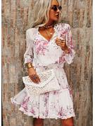 Blomster Print Kjole med A-linje 3/4 ærmer Midi Casual skater Mode kjoler
