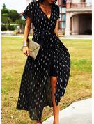 Print A-linjeklänning Korta ärmar Maxi Fritids Semester skater Modeklänningar