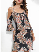 Print Sheath 3/4 Sleeves Cold Shoulder Sleeve Mini Casual Vacation Dresses