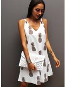 Nadruk Suknie shift Bez Rękawów Mini Nieformalny Wakacyjna Rodzaj Modne Suknie