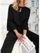 固体 ラウンドネック 3/4袖 マキシ ファッションドレス