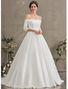 Ball-Gown/Princess Off-the-Shoulder Court Train Satin Wedding Dress