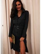 Einfarbig A-Linien-Kleid Lange Ärmel Midi Lässige Kleidung Skater Modekleider