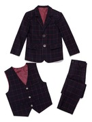 Ragazzi 3 pezzi Tartan Abiti per Paggetti /Page Boy Suits con Giacca ovest Pantaloni