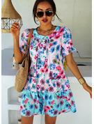 Květiny Tisk Šaty Shift Krátké rukávy Midi Neformální Dovolená Tunika Módní šaty