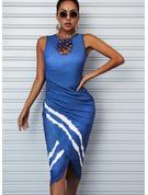 Print Bodycon Sleeveless Midi Casual Dresses