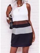 Color Block Skiftekjoler Ærmeløs Mini Casual Mode kjoler