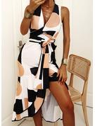 Geometrisk A-linjeklänning Ärmlös Midi Elegant skater Bolerojackor Modeklänningar