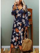 Estampado Vestidos soltos Manga Comprida Midi Casual Vestidos na Moda