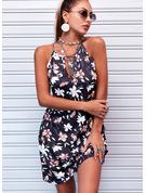 Blumen Druck Etui Ärmellos Mini Lässige Kleidung Modekleider