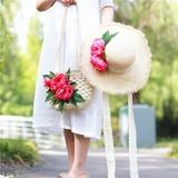 Presentes Da Noiva - Atraente Seda palha Então Vag Chapéu De Palha