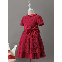 A-Line Knee-length Flower Girl Dress - Satin/Lace Short Sleeves Scoop Neck With Bow(s)