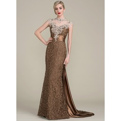Trumpet/Mermaid Scoop Neck Floor-Length Watteau Train Lace Mother of the Bride Dress With Beading Sequins (008102700)