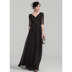 A-Linie/Princess-Linie V-Ausschnitt Bodenlang Chiffon Lace Kleid für die Brautmutter mit Rüschen Perlstickerei Pailletten (008107638)