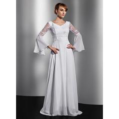 Forme Princesse Col V Traîne mi-longue Mousseline Robe de mère de la mariée avec Dentelle Emperler