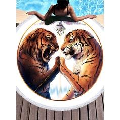 Tiger Mönster överdimensionerad/rund handduk