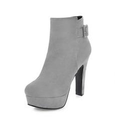 De mujer Ante Tacón ancho Salón Botas Botas al tobillo con Cremallera zapatos (088144281)