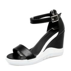 Women's PVC Wedge Heel Sandals Pumps Wedges Peep Toe With Buckle shoes