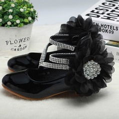 Girl's Round Toe Closed Toe Leatherette Low Heel Flower Girl Shoes With Imitation Pearl Satin Flower Velcro Lace-up