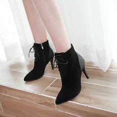 Женщины Замша Высокий тонкий каблук На каблуках Полусапоги с Шнуровка обувь