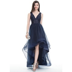 A-Line/Princess V-neck Asymmetrical Tulle Prom Dresses With Beading (018113759)