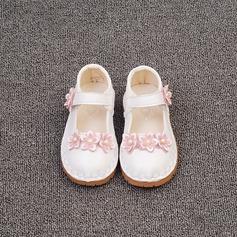 Jentas Lukket Tå Microfiber Lær flat Heel Flate sko Flower Girl Shoes med Imitert Perle Velcro Blomst